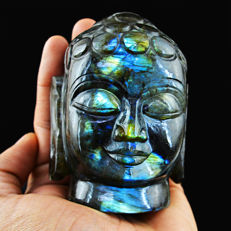 Blue Flash Labradorite Buddha Head - 198x67x51 mm - 2695 Cts