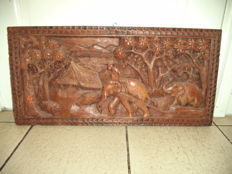 Large elephant woodcarving - Indonesia - 2nd half 20th century (62.2 cm)