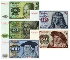 Germany (Federal Republic) - 5, 10, 20, 50 & 100 Marks 1970-1980 - Pick 30b - P31d - P32b - P33b - P34d