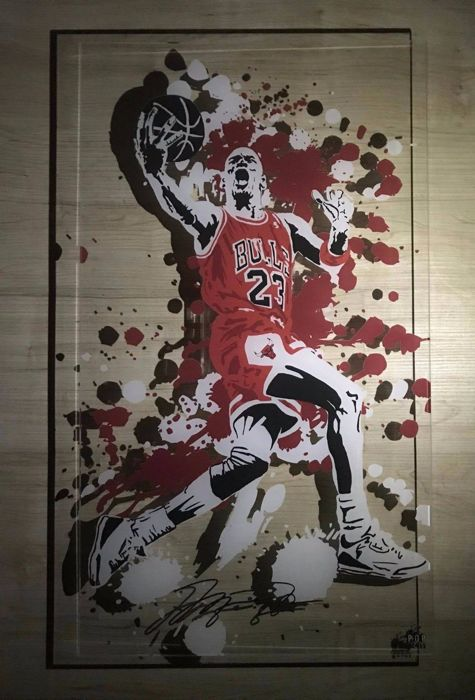 Tempered glass picture 70 x 40 cm, digital print - Michael Jordan