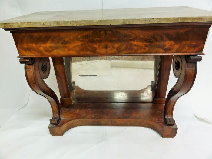Restoration mahogany console with marble top, the Netherlands, about 1815-1830