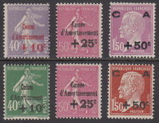 France 1928/1929 - 'Caisse d'Amortissement' - Yvert no. 249/251 and 253/255