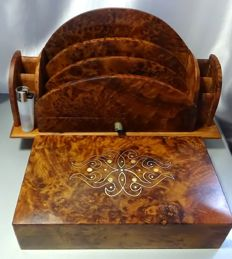 Set carved and polished mahogany wood desk with mother of Pearl inclusions