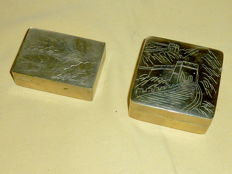 Chinese boxes depicting the Great Wall - China - mid-20th century