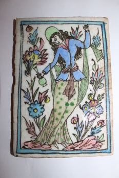 Antique ceramic tile decorated with a woman - Iran - second half of the 18th century