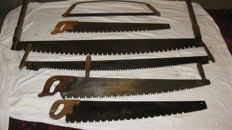 Collection of 6 antique tree saws
