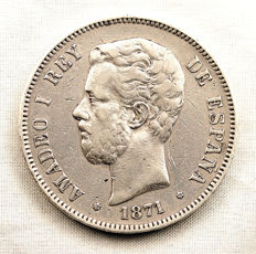 Spain - Amadeo I - 5 pestas in silver - 1871*18-74 - Madrid