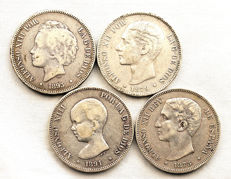 Spain - Alfonso XII and XIII - Lot of 5 pesetas in silver - Years 1875, 1879, 1891 and 1893 - Madrid