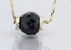 Diamond pendant with faceted briolette black diamond ball # Accompanied IGI Certificate #