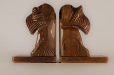 Art Deco Black Forest hand carved wooden bookends - Scottie Dogs