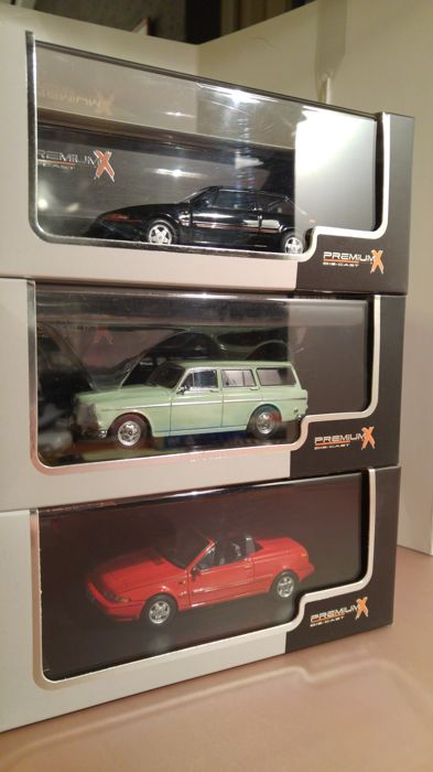 PremiumX - Scale 1/43 - Lot with 3x Volvo: Volvo 220 Amazone - light green 1962, Volvo 480 Turbo - Black 1987 & Volvo 480 Cabrio - Red 1990