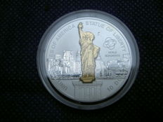 Cook Island - 10 dollars 2006 'Sculpture coin Statue of Liberty USA' with invoice and certificate - silver
