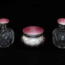Group of Sterling Silver Crystal& Pink Guilloche Jars, Mappin&Web, Birmingham, England, 1928