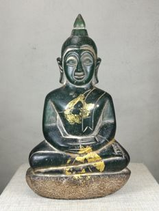 Green Glass Buddha - Thailand - 2nd half of 20th century (15.5 x 9 cm)