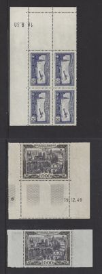 France 1930 - Various issues including block of 4 with Coin date - Yvert PA 6 and PA29 in 2 different paper types