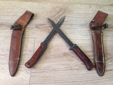 Lot Of 2 Czech AK-47 Samopal Bayonet - 1 and 2nd Model - with original leather sheath