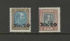 Iceland 1929/1930 - overprint stamps - Michel 124 and 141