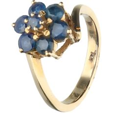 14 kt - Yellow gold ring set with sapphire - Ring size: 16 mm