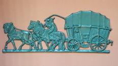 Large cast iron wall decoration - horses with farmers cart - 60 cm
