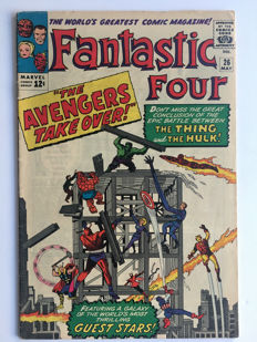 Marvel Comics - The Fantastic Four #26 - Hulk vs Thing 1st battle continued and 4th Avengers X-over - 1x sc - (1964)