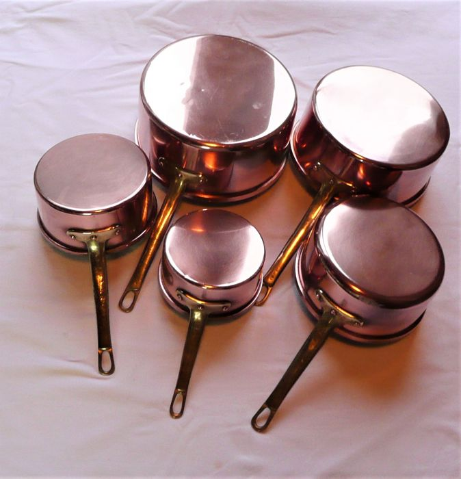 5 quality tinned copper pans