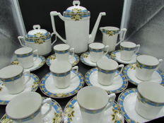 Lucien Michelaud, porcelain coffee set from Limoges with art deco decoration