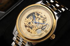 Time100 Automatic Gold Skeleton with stainless steel case and strap
