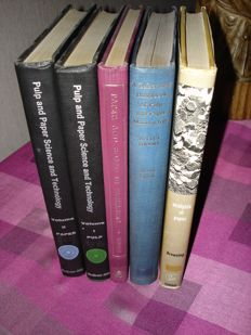 Papermaking, lot with 5 books about Pulp, Papermaking, Testing and Converting of paper - 1961/1969