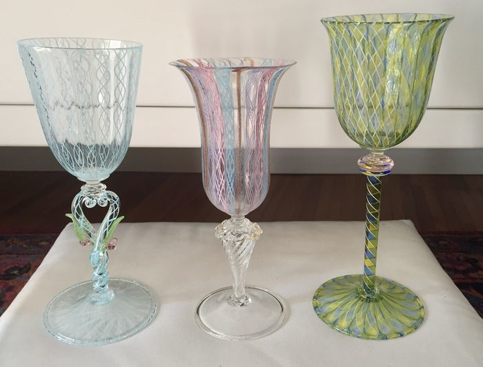 Murano (unknown artist) - Collectable Murano glass goblets