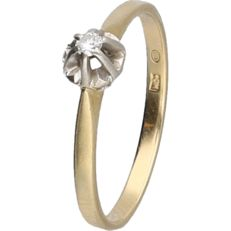 14 kt - Yellow gold ring set with a diamond of approx. 0.03 ct, in a white gold setting - ring size: 16.5 mm