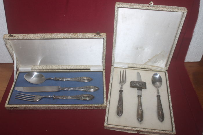 Two silver cutlery sets, Portugal, mid 20th century