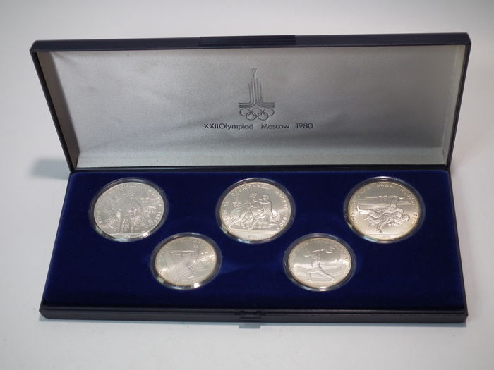 Russia - 5, 10 Roubles 1980 coin set XXII Olympic Games of Moscow 1980 - silver