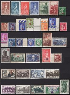 France 1941/1943 - Three complete years - Yvert 470 to 598