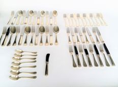 Christofle France Malmaison, eight person cutlery including six person fish place setting, 60- pieces,