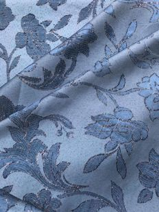 5.76 m of an bright damask fabric, blue coloured and trimmed with silver thread - Italy, 20th century