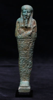 Egyptian faience ushabti with 8 horizontal lines of text - 175 mm