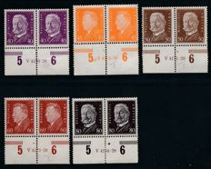 German Reich - 1928 - presidents of the German Reich 3 Pf to 80 Pf, bottom edge pairs with printing house number, Michel 410-22 HAN, verified by Schlegel BPP