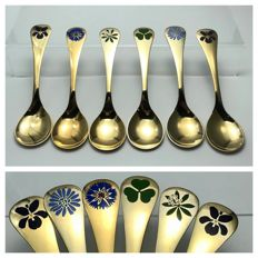 Georg Jensen - lot of 6 gilt-silver spoons - Denmark - 1970 / 1980