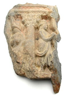 Ancient Gandhara Stone Statue of Figure and Pillar - 26.5mm