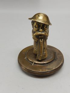 Rare Vintage World War 1 Old Bill Bruce Bairnsfather Soldier Mascot Mounted onto Brass Radiator Cap