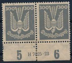 German Reich - 1924 - 'wood pigeon 3 mark horizontal pair from bottom edge of sheet with printing house number', Michel 350 HAN, Schlegel photo attest