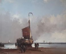 Jan Hendrik Jacob Jasper (1937-) - Alias Jan Mooyman - Sea view with a Scheveningen 'bomschuit' on the beach