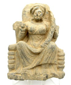 Ancient Gandhara Stone Statue of Female Buddha - 160mm