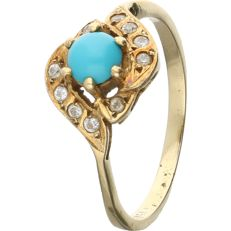 18 kt – Yellow gold ring set with a cabochon cut  turquoise and 10 brilliant cut zirconias - Ring size: 17.75 mm