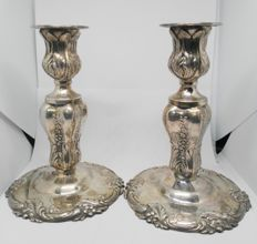 Pair of oil lamps in Spanish Silver