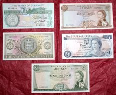 Guernsey - Jersey - lot of 5 banknotes - 1963/1980