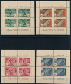 German Occupa 1941 - Walloon Legion, small sheet sheet set of four values, Michel I - IV