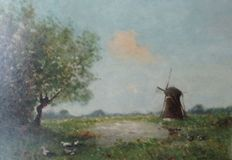 W.H. Jintes [1855- 1924] - Mill in landscape