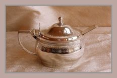 Sterling silver George III mustard pot w/clear glass liner, Charles Thomas Fox, London, 1807 and spoon, Henry Holland, London 1874