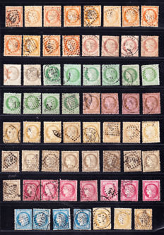 France 1870/1873 - Colour study, stamps and varieties with cancellation on Cérès - Between Yvert 38 and 57.